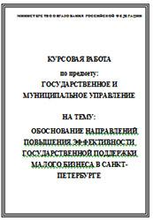 Государственное и муниципальное управление дипломные работы  Обоснование направлений повышения эффективности государственной поддержки малого бизнеса в Санкт Петербурге курсовая работа